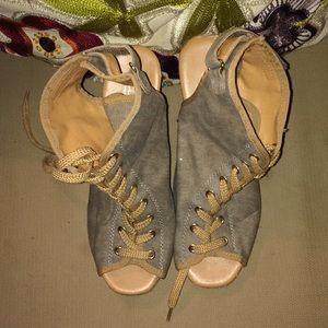 Shoes - Peep toe lace up wedges